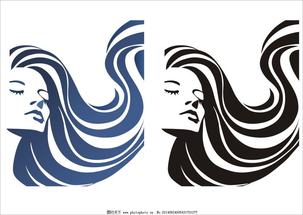 美女头像矢量图免费下载 美女 美女 头部轮廓 发丝 矢量人物