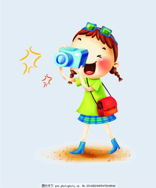 相机 包包 星星 卡通 矢量图 矢量人物-卡通人物矢量图小女孩简笔画