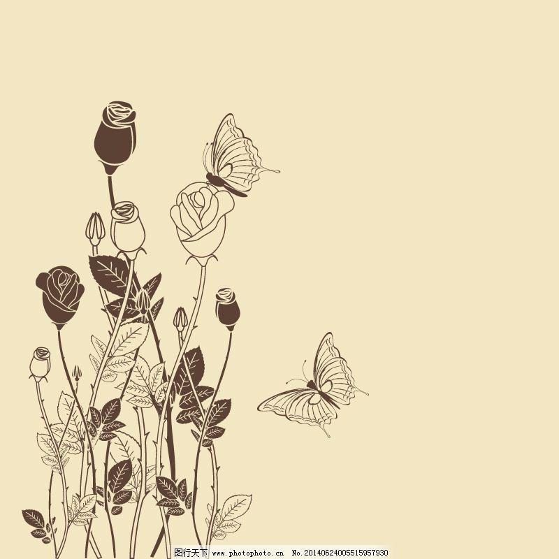 手绘蝴蝶花丛矢量素材