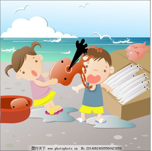 儿童海边沙滩玩耍