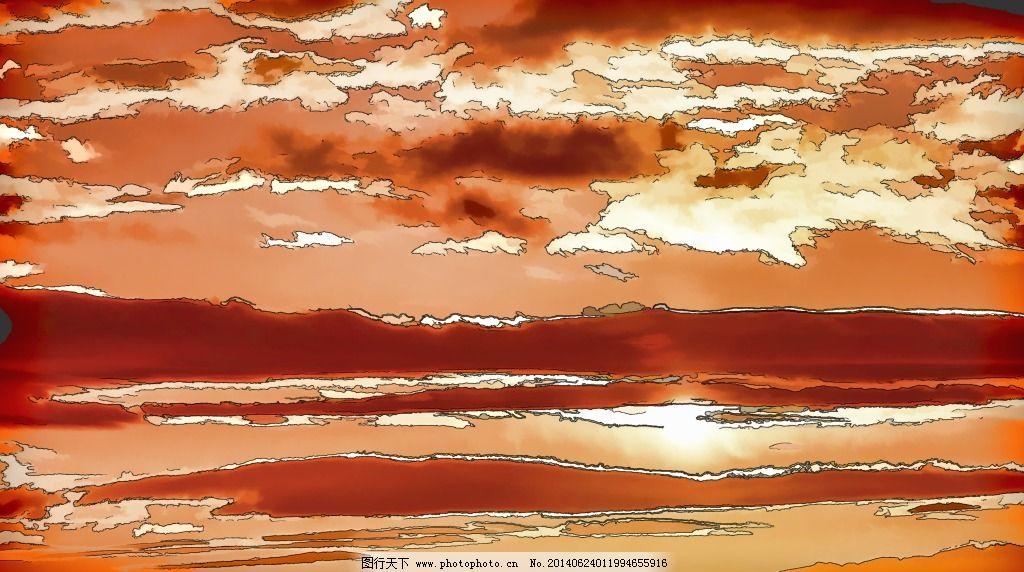 落日夕阳美景免费下载 jpg 抽象画 落日 水彩画 文化艺术 夕阳 抽象画