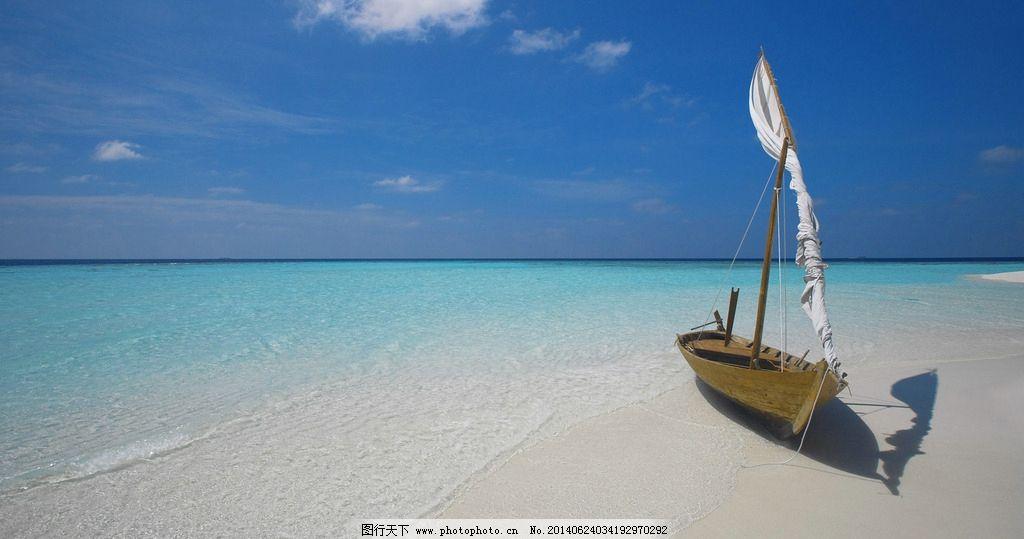 海边美景 海洋 帆船 叠图 白沙 蓝天 自然风景 旅游摄影 摄影 72dpi