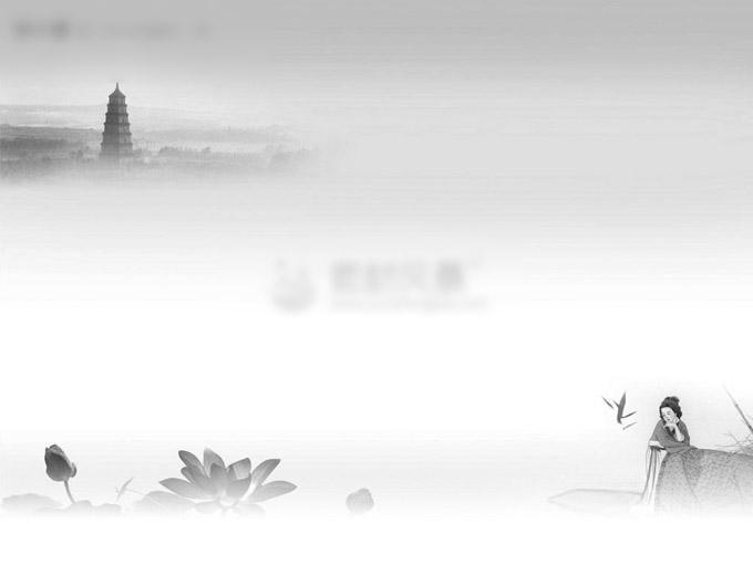 中国古典ppt免费下载 荷花 人物 云彩 雷峰塔 人物 荷花 云彩 ppt
