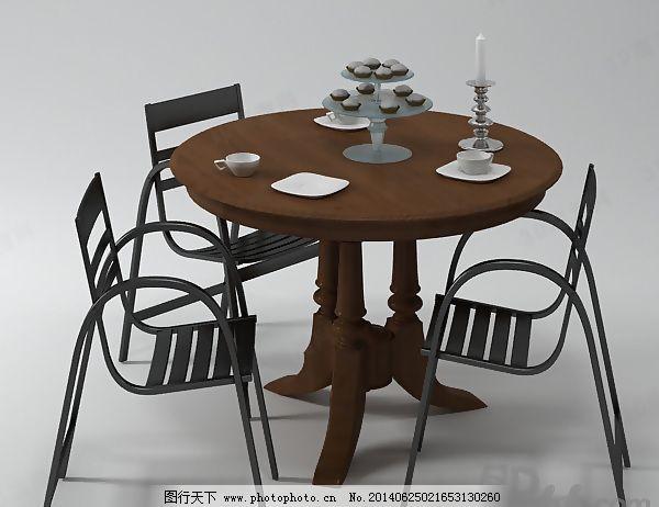 餐厅 餐椅 餐桌 茶杯 碟 饭店 蜡烛 欧式 椅子 桌椅 有贴图 家具组合