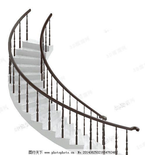 3d楼梯模型,大堂 弧形 客厅 栏杆 欧式 有贴图-图行