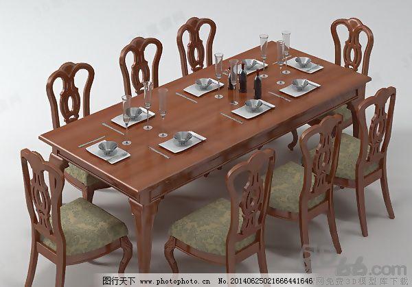 酒瓶 筷子 欧式 max9 有贴图 家具组合 欧式 桌子 餐厅 饭店 桌椅组合
