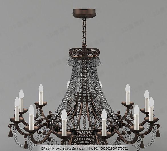 3d欧式水晶吊灯模型