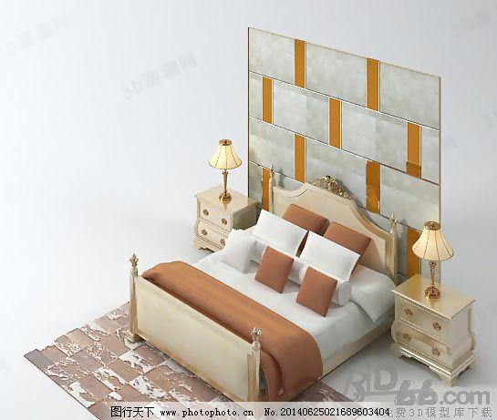3d好看的欧式床头背景双人床模型