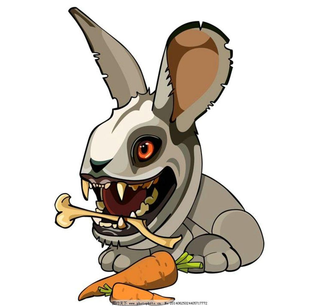 小兔子 胡萝卜 卡通动物