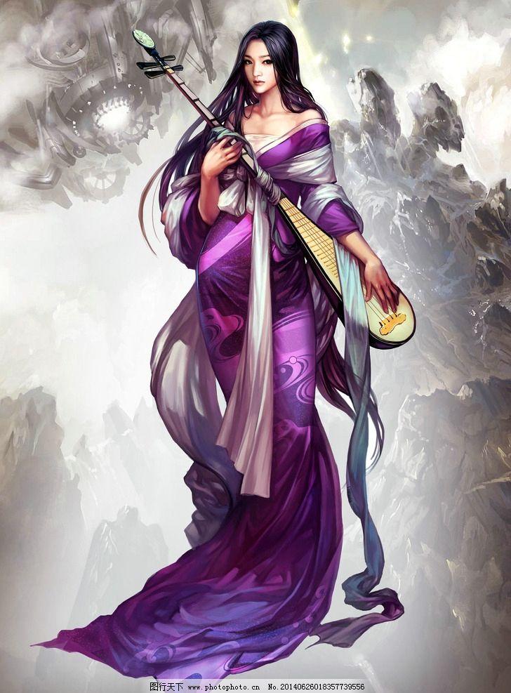 美术 彩色画 动漫美女 魔幻少女 科幻少女 女神 山岭 幻境 动漫人物