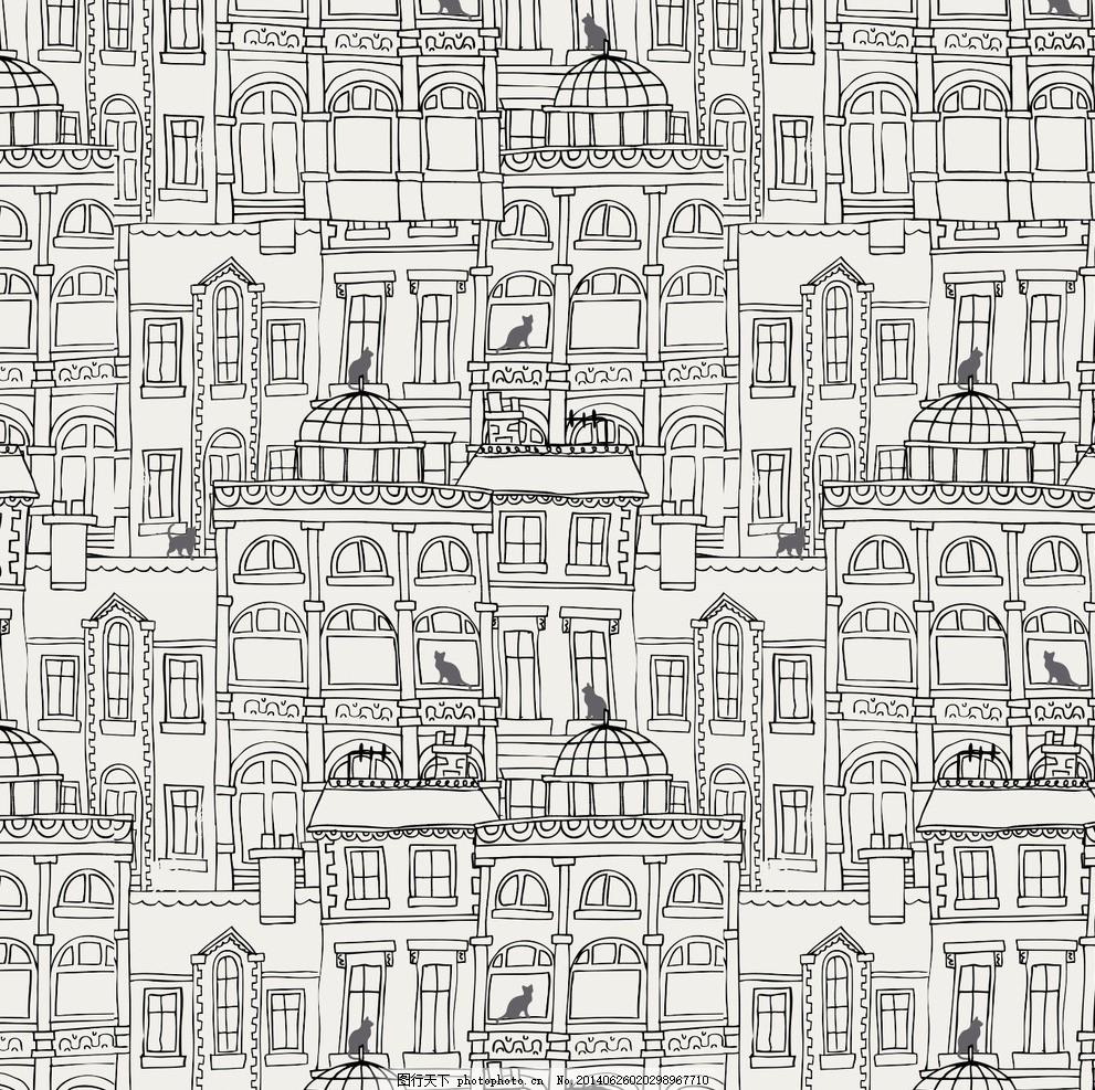 设计图库 底纹边框 背景底纹  城市剪影线条 复古 经典 男 女 服装 毛