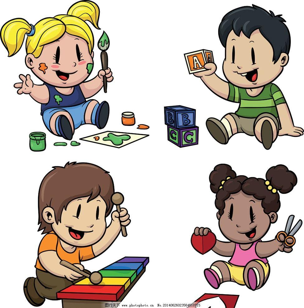 小学生 玩耍 画画 人物 小男孩 卡通背景 卡通 手绘 矢量 儿童幼儿 ep