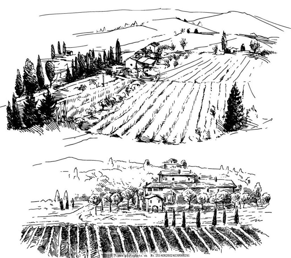 欧式乡村田园风景简笔画