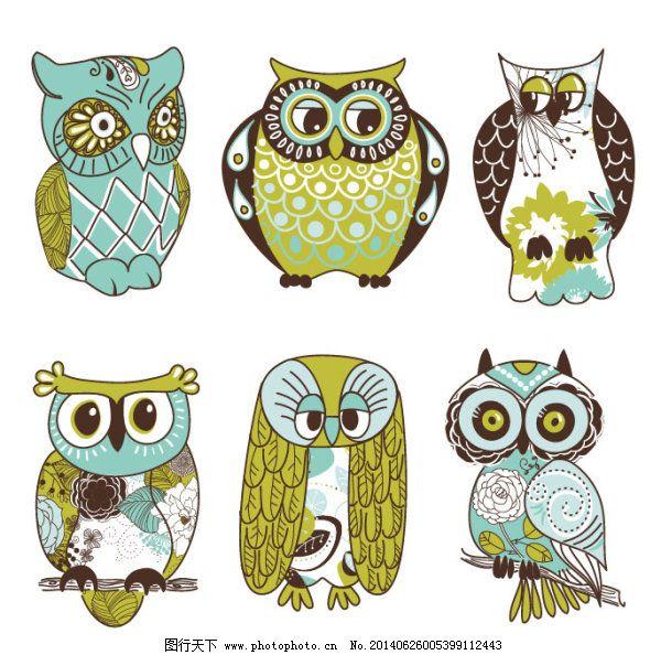 插画 动物 手绘 头鹰 手绘 画稿 动物 插画 矢量图 广告设计