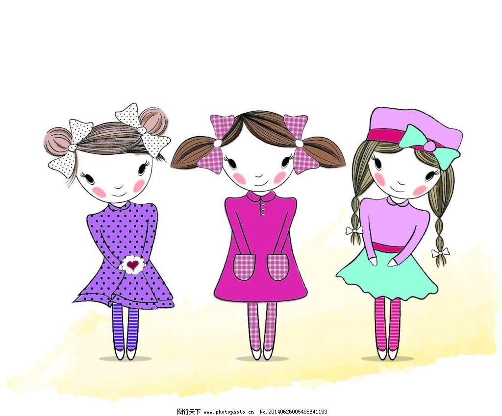 可爱的小姑娘免费下载 卡通 女生 手绘 女生 手绘 卡通 矢量图 矢量
