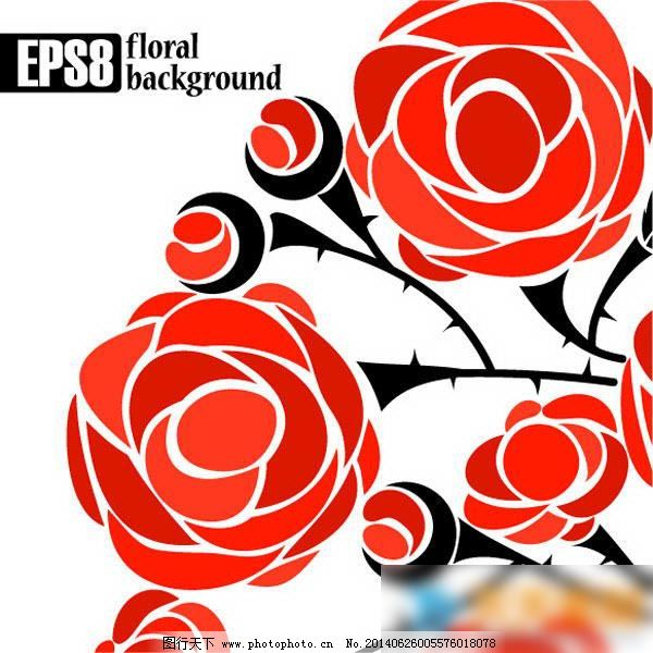 红色玫瑰花卡通免费下载