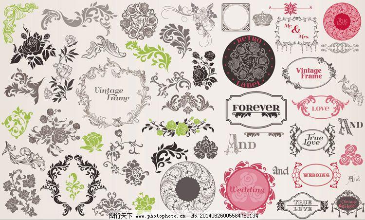 欧式婚礼花纹装饰元素矢量素材免费下载 边框 花卉 花纹 婚礼 玫瑰
