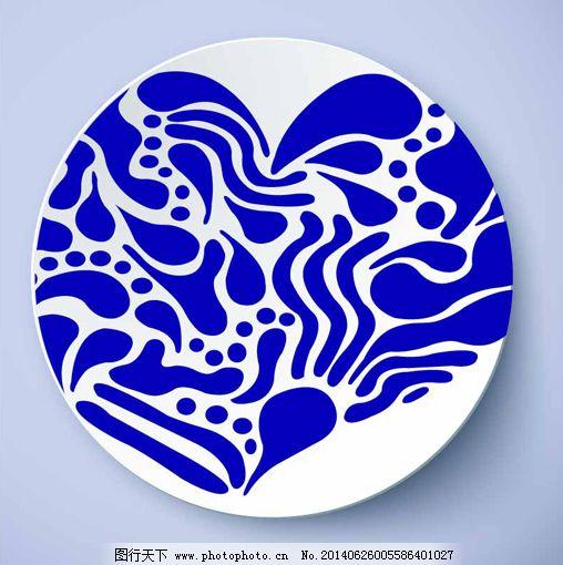 青花瓷盘图案免费下载 ai 设计 矢量图 矢量图 青花抽象图案 盘子花纹
