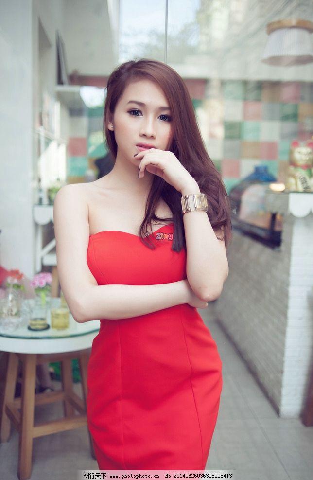 红衣美女 气质美女 清纯美女 可爱美女 性感美女 人物摄影 人物图库