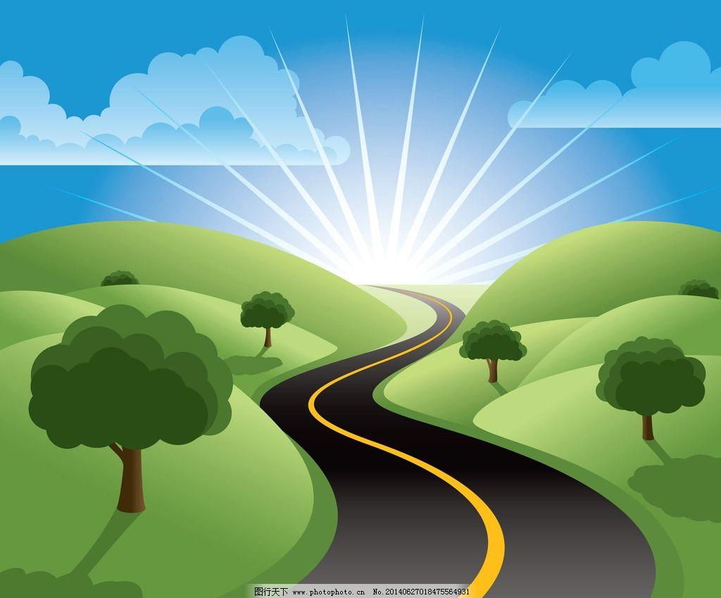 动漫 路 设计 素材 太阳 树 风景漫画 动漫动画 72dpi jpg