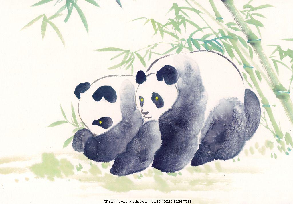 熊猫动物免费下载 动物 高清 国画 绘画 水墨 鲜花 熊猫 艺术 源文件