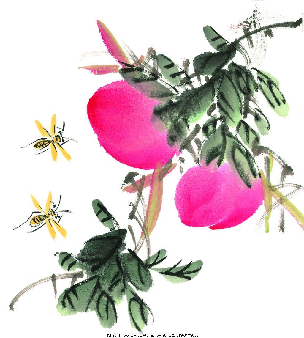 传统艺术  蜜蜂免费下载 高清 国画 绘画 水墨 鲜花 艺术 源文件 中国