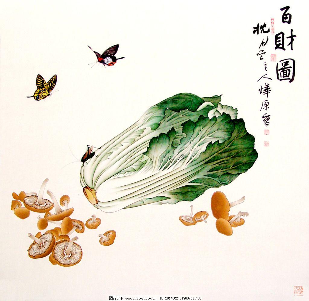 国画 水墨 植物白菜