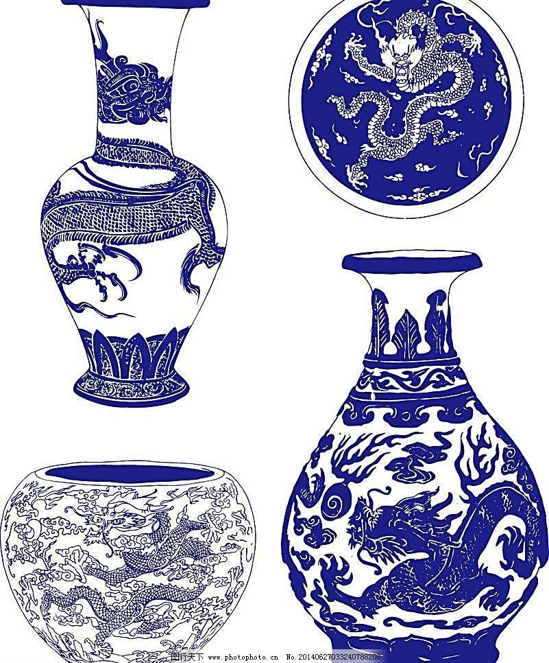 陶瓷花纹 陶瓷纹样 陶瓷 龙图腾 龙 花纹 手绘花纹 青花矢量图 青花瓷