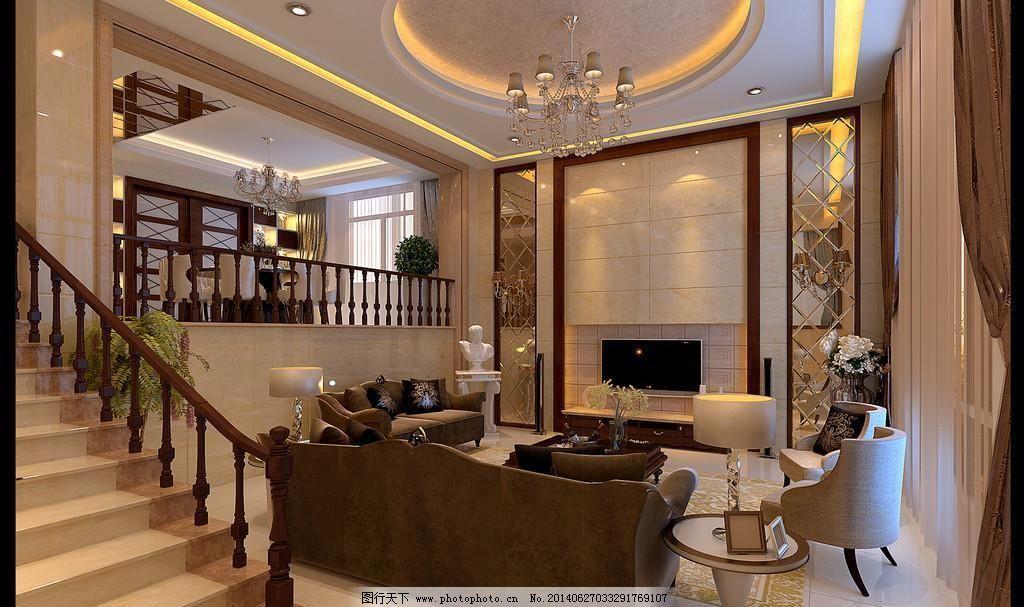 楼梯 别墅客厅      欧式        地砖 菱镜 吊顶 中央空调 吊灯