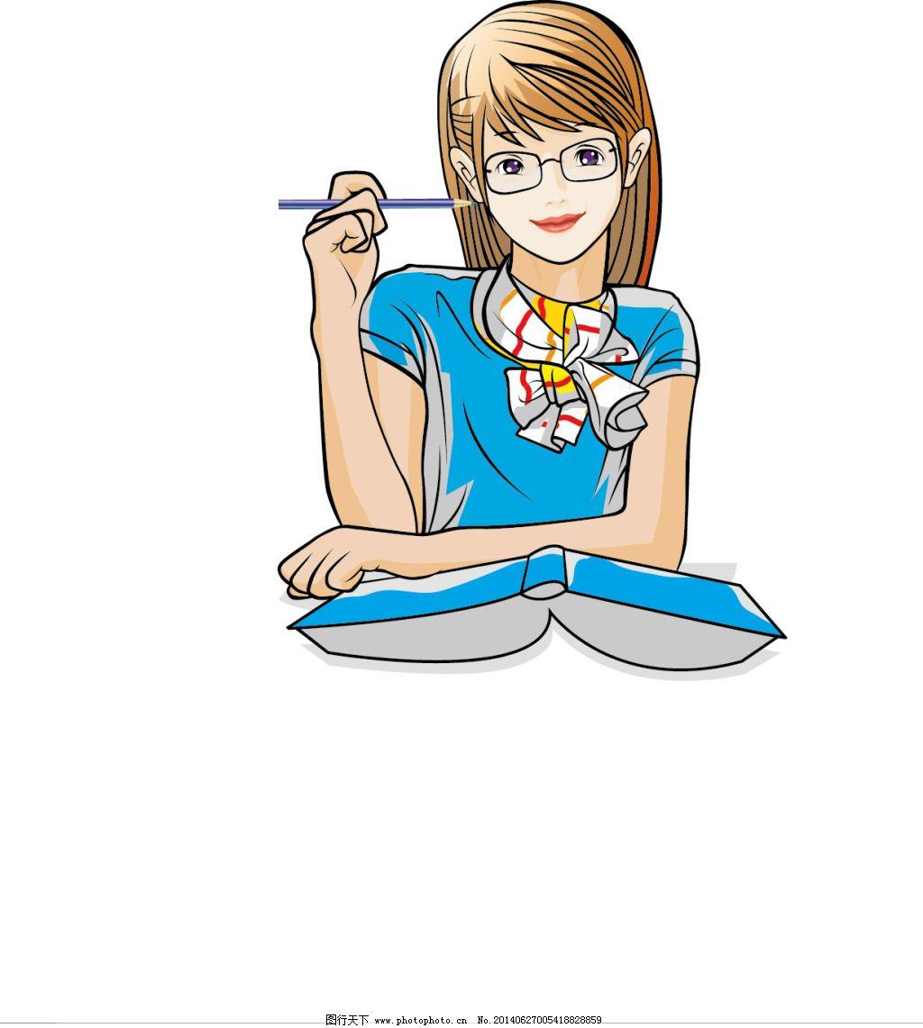 卡通 可爱 女生 铅笔 学生 矢量 学生 卡通 可爱 女生 铅笔 矢量图 矢