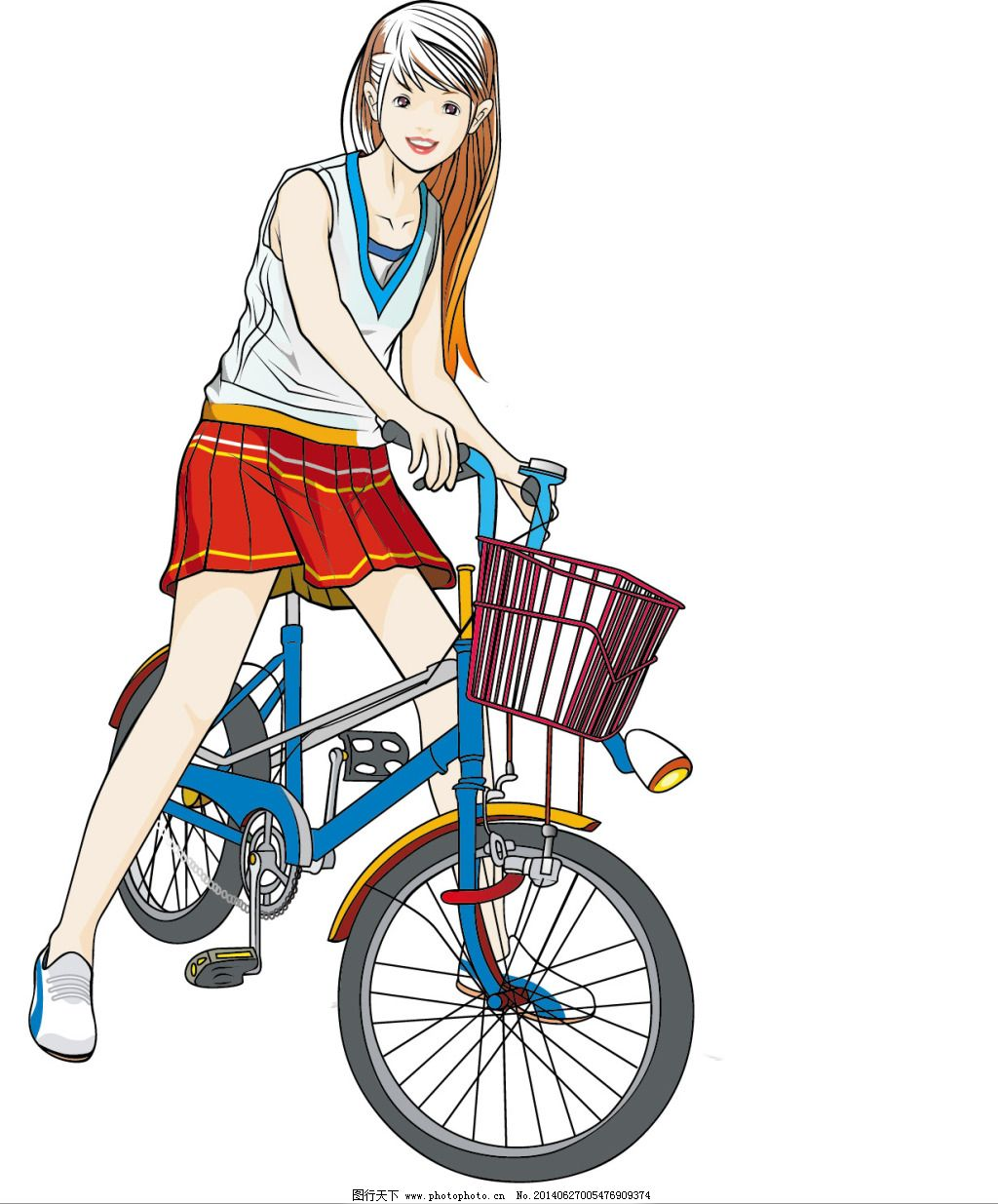 卡通 可爱 女生 学生 自行车 自行车 矢量 学生 卡通 可爱 女生 矢量