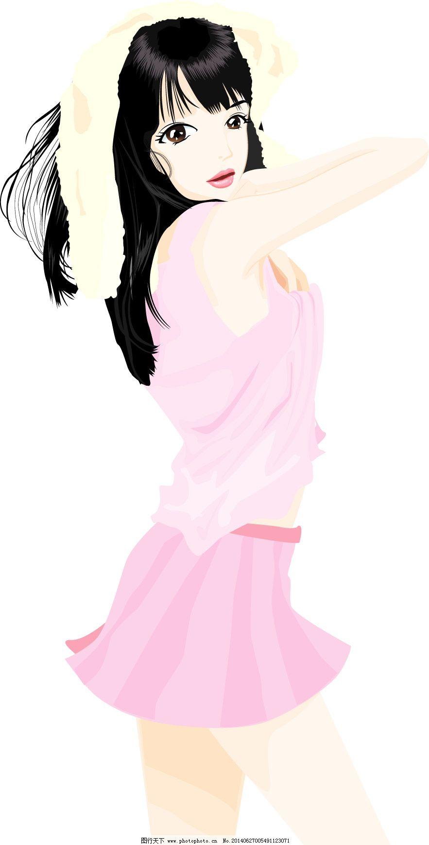 侧身连衣裙美女免费下载 长发 侧身 连衣 裙美女 长发 矢量图 矢量
