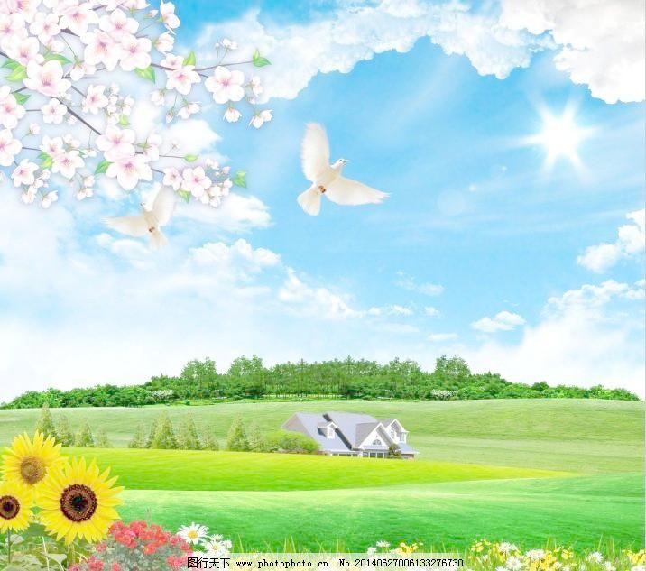 背景 草地 草原 创文 春天 蓝天白云风景 蓝天白云 草地 大树 蓝天