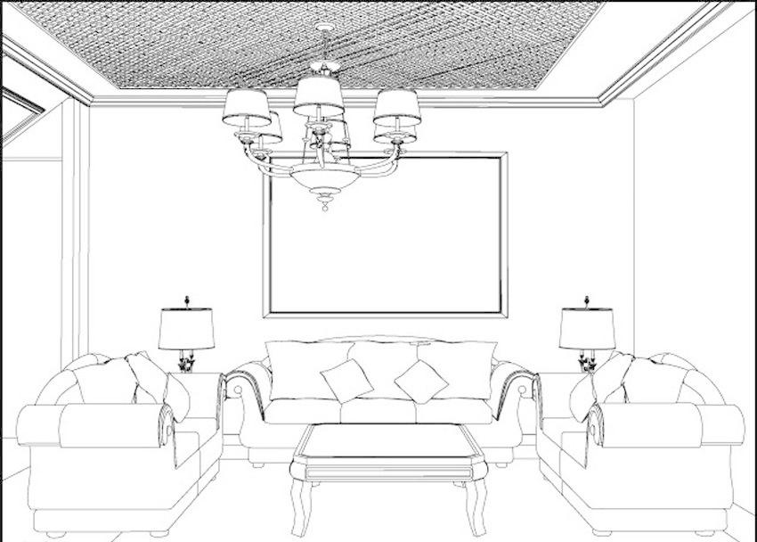 沙发 电视墙 吊灯 室内设计 素描 装潢 装修 示意图 模型图 手绘