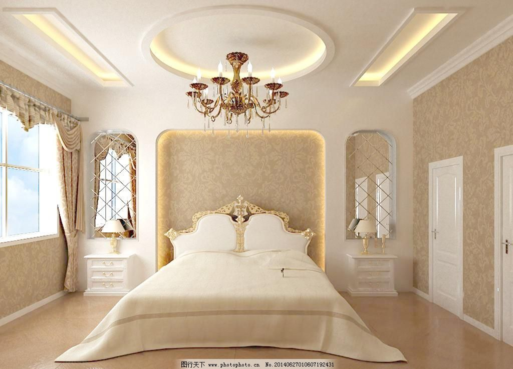 卧室效果图 吊顶 壁纸 顶带线 床头柜 镜子 窗帘 吊灯 床头造型 木