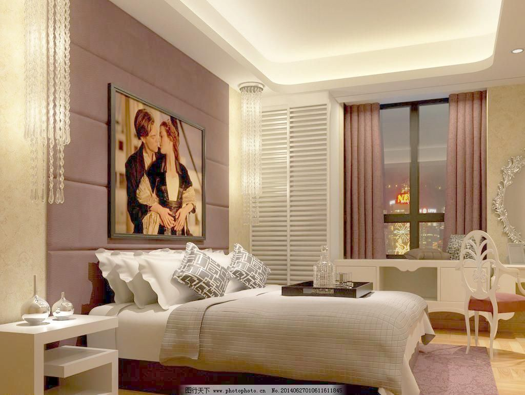 3d设计 3d作品 72dpi jpg 窗帘 木地板 设计 紫红 简欧主卧室 硬包图片