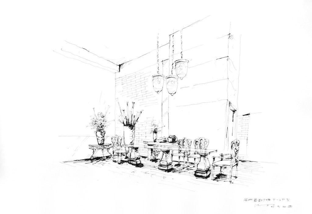 家具 家居 线稿 钢笔线稿 桌子 椅子 花瓶 吊灯 灯饰