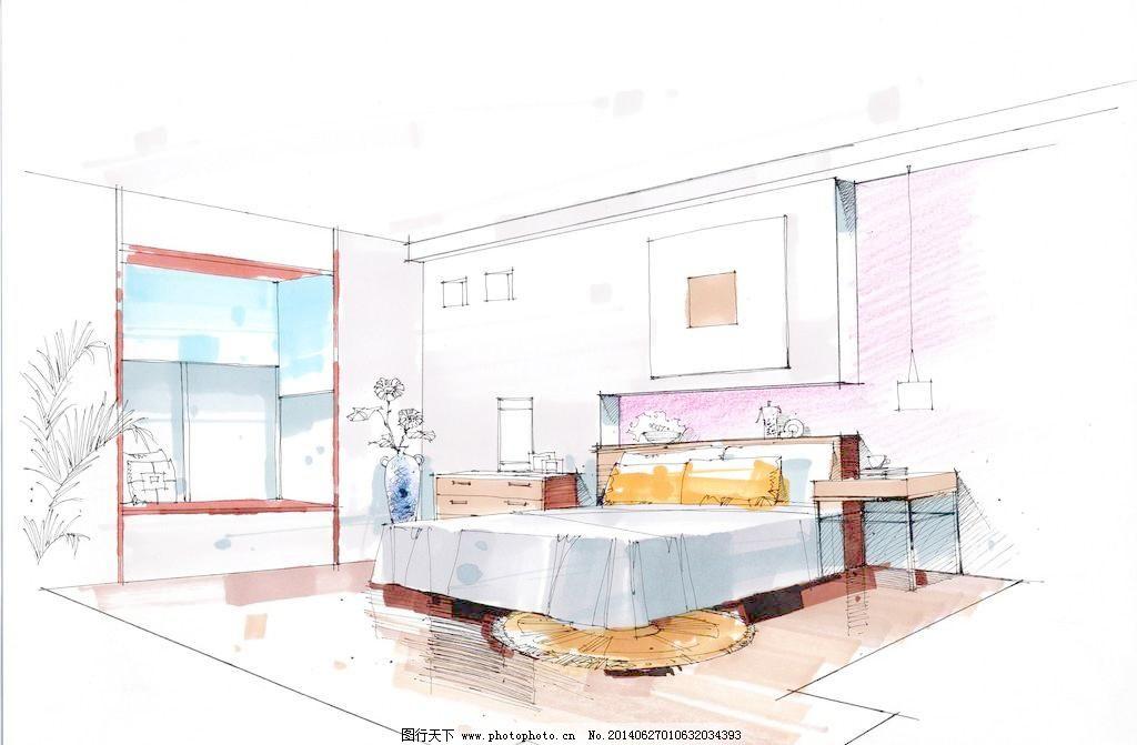 吊灯 环境设计 卧室手绘 床 沙发 茶几 台灯 窗帘 家装 装饰 室内设计