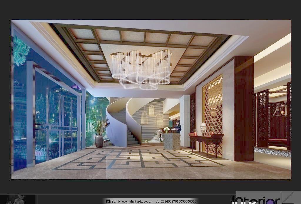 餐厅大堂 假山 接待台 楼梯 室内设计 工艺吊灯 造型吊顶 中式花隔断图片