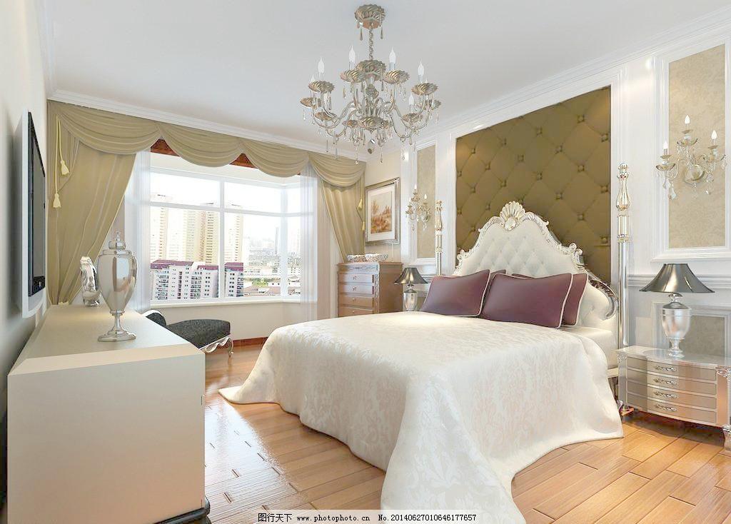 卧室 窗户 窗帘 床 床头柜 地毯 吊灯 吊顶 床铺 木地板 欧式风格图片