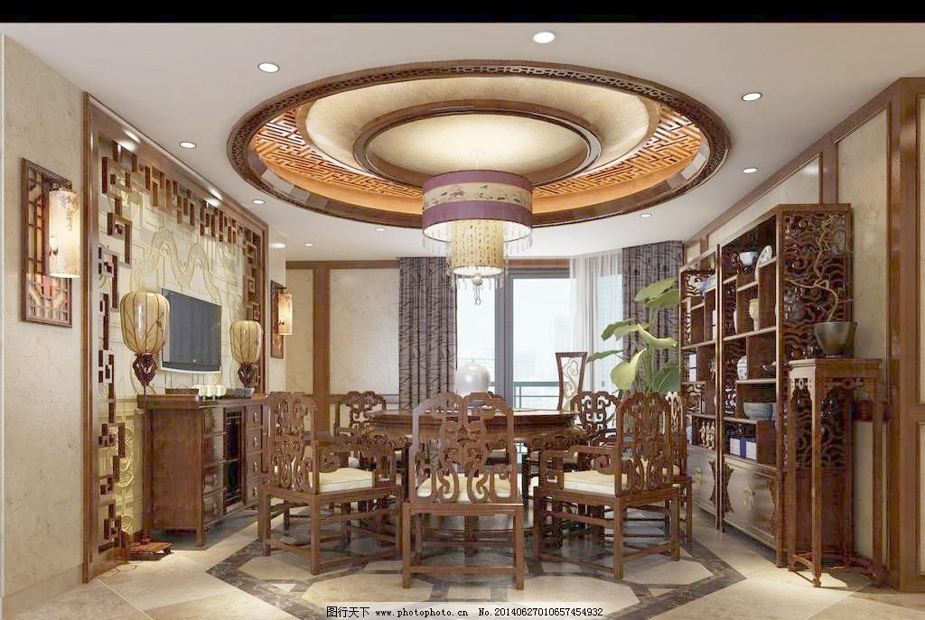 中式风格饭厅 窗花背景 客厅 木地板 欧式吊灯 沙发 中式风格客厅模板图片