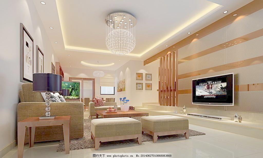 室内设计 装修效果图 吊灯 灯带 电视背景墙 中式 欧式 昏暗图片
