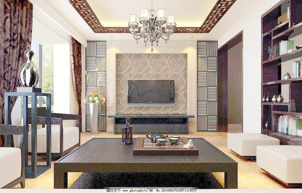 客厅效果图      吊顶 中式吊顶 博古架 吊灯 中式电视墙 中式别墅图片