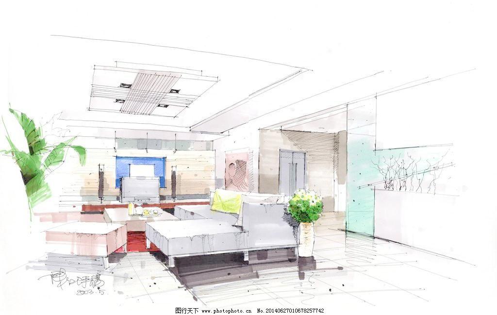 壁画 茶几 窗户 窗帘 电视 吊灯 环境设计 家装 客厅手绘 沙发 茶几