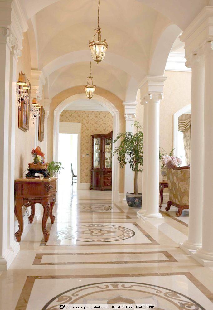 建筑园林 摄影 室内摄影 走廊 走廊 拼花大理石 欧式理石柱子 吊灯