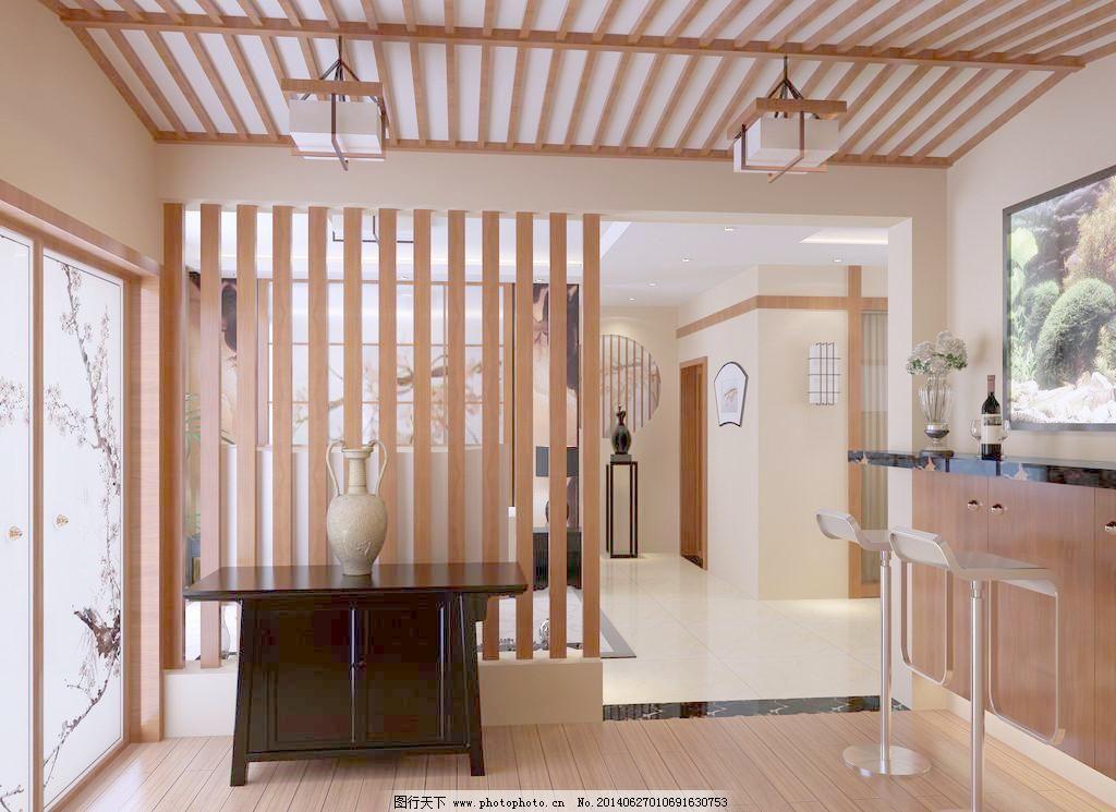瓷瓶 隔断 工艺品 环境设计 客厅效果图 木地板 设计 客厅效果图 室内