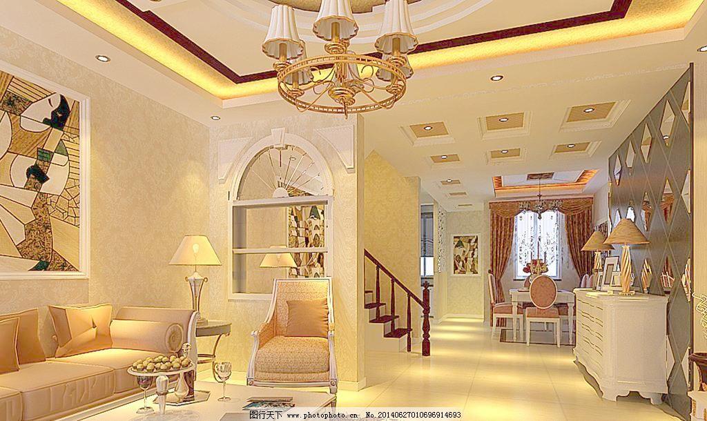 壁纸 吊灯 挂画 沙发 茶几 地柜 餐桌 窗帘 玻璃 欧式效果图 室内设计