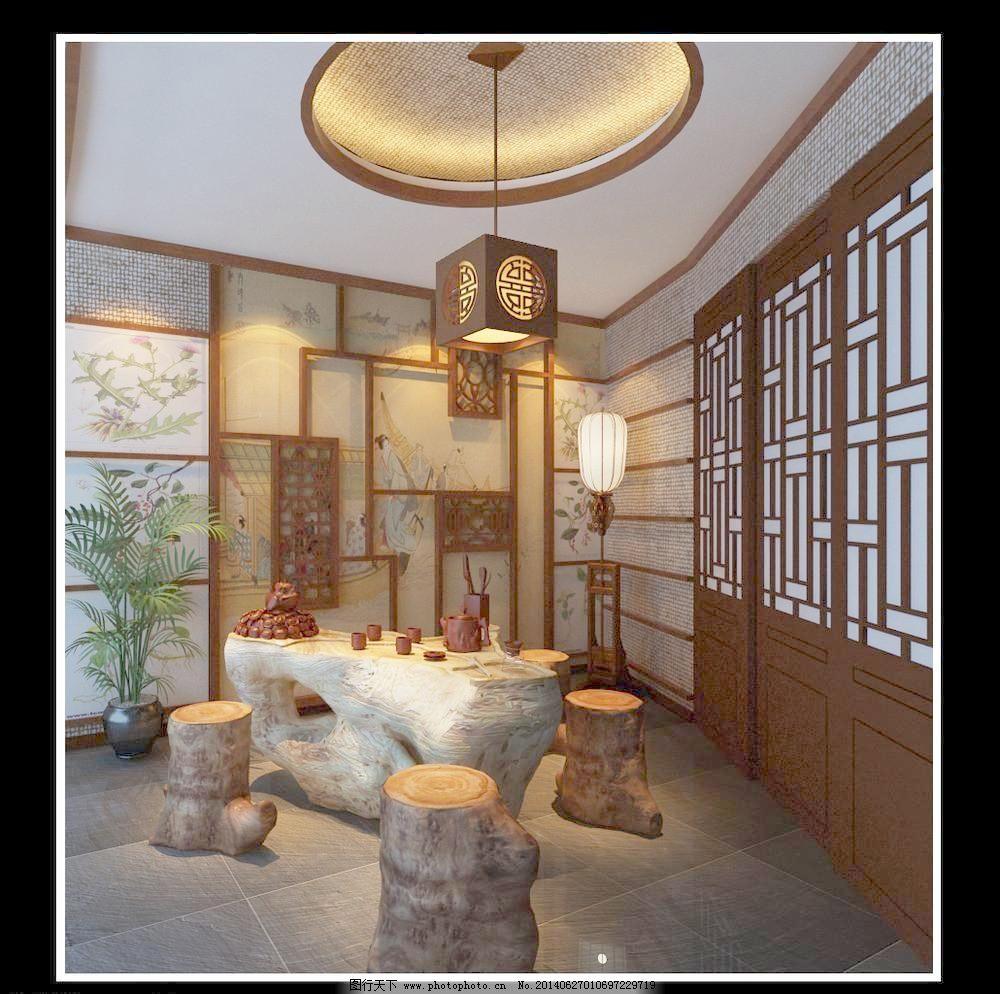 室内装修风格 格调 茶馆 茶具 根雕 古典 挂画 建筑园林 摄影