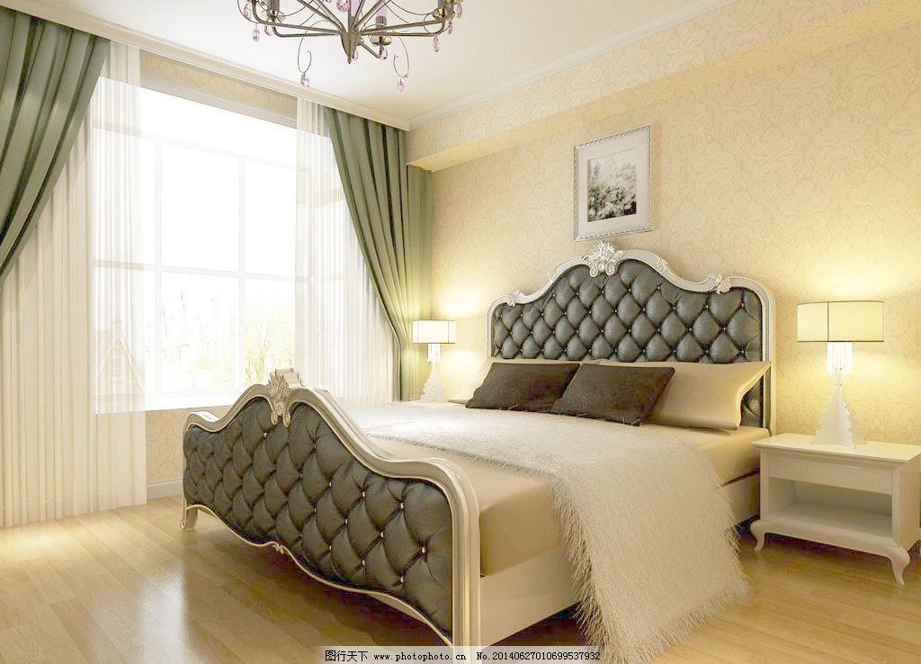 设计图库 环境设计 家居设计  卧室免费下载 300dpi jpg 窗户 窗帘 床
