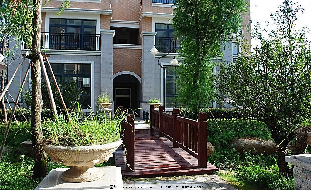 单元入口 房地产建筑 家 建筑摄影 建筑园林 景观 绿化 木桥图片